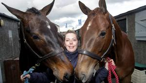 The first day of the Balmoral Show which took place in the Kings Hall, Belfast.  Janice Neil pictured with horses Bernie and Alfie