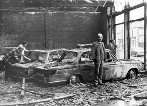 Riots : Belfast. August 1969.  The car showroom on the Falls Road which was destroyed by fire during the rioting in Belfast last night.  (14/8/69)