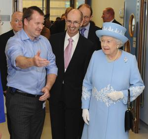 HRH the Queen mets staff of the newly opened South West Hospital during the secong visit of the day to the province. Showing HRH around the wards are Dr Ray Nethercott and Trust Chairman Gerard GuckinPhoto by Simon Graham/Harrison Photography