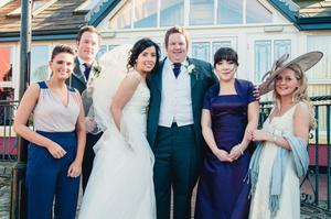 "L-R Sarah Beggs usher, David Thomson best man, bride Gina and husband Neil , Ruth blacker bridesmaid, Jane Lamph usher. <p><b>To send us your Wedding Pics <a  href=""http://www.belfasttelegraph.co.uk/usersubmission/the-belfast-telegraph-wants-to-hear-from-you-13927437.html"" title=""Click here to send your pics to Belfast Telegraph"">Click here</a> </a></p></b>"