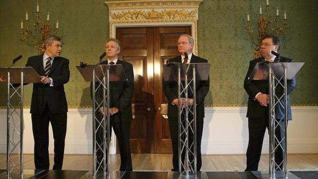Prime Minister Gordon Brown (left), DUP leader Peter Robinson (centre left), Sinn Fein's Martin McGuinness (centre right) and Taoiseach Brian Cowen (right) during a press conference after a deal was announced about Northern Ireland's power-sharing government