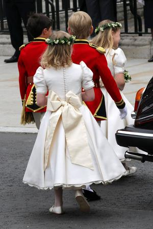 LONDON, ENGLAND - APRIL 29:  Pageboys and bridemaids arrive to attend the Royal Wedding of Prince William to Catherine Middleton at Westminster Abbey on April 29, 2011 in London, England. The marriage of the second in line to the British throne is to be led by the Archbishop of Canterbury and will be attended by 1900 guests, including foreign Royal family members and heads of state. Thousands of well-wishers from around the world have also flocked to London to witness the spectacle and pageantry of the Royal Wedding.  (Photo by Chris Jackson/Getty Images)