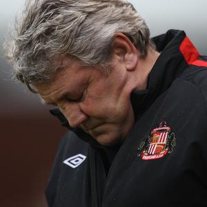 File photo dated 05/02/2011 Sunderland manager Steve Bruce dejected on the touchline. Issue date: Wednesday December 1, 2011. Sunderland have confirmed manager Steve Bruce has left the club. See PA story SOCCER Sunderland. Photo credit should read: Nick Potts/PA Wire. Editorial use only. Maximum 45 images during a match. No video emulation or promotion as 'live'. No use in games, competitions, merchandise, betting or single club/player services. No use with unofficial audio, video, data, fixtures or club/league logos.