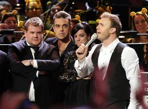 James Corden, Lily Allen, Robbie Williams and Take That's Gary Barlow