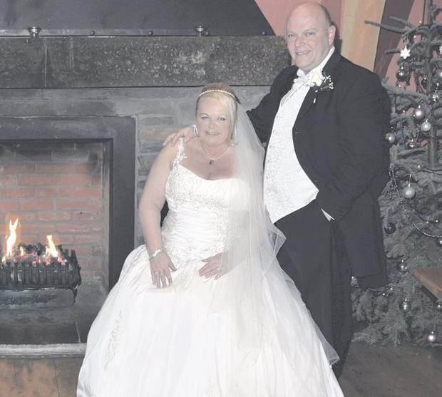 """Great day: Ronnie and Norah Coates (nee McGuckian) on their wedding day in Ballygally Castle' <p><b>To send us your Wedding Pics <a  href=""""http://www.belfasttelegraph.co.uk/usersubmission/the-belfast-telegraph-wants-to-hear-from-you-13927437.html"""" title=""""Click here to send your pics to Belfast Telegraph"""">Click here</a> </a></p></b>"""