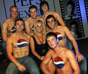 Northern Woman's Gabrielle Houston with the Pepsi Boys are pictured at the final of Pepsi Sexiest Man 2009 in association with Northern Woman. The final took place in Northern Whig, Belfast.