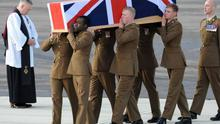 The repatriation ceremony at RAF Brize Norton of Corporal Channing Day from 3 Medical Regiment  and Corporal David O'Connor from 40 Commando Royal Marines