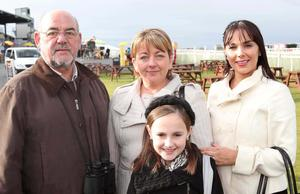 Down Royal Racecourse. Thomas Gillan with Anita, Michele and Ciara McCourt