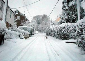 Heavy snow blankets Marden's Hill in East Sussex