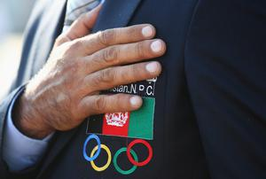 LONDON, ENGLAND - JULY 26:  An Afghanistan Olympic official during the Olympic Village arrivals ahead of the London 2012 Olympics at the Olympic Park on July 26, 2012 in London, England.  (Photo by Alexander Hassenstein/Getty Images)