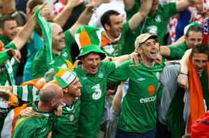POZNAN, POLAND - JUNE 10:  Irish fans celebrate during the UEFA EURO 2012 group C between Ireland and Croatia at The Municipal Stadium on June 10, 2012 in Poznan, Poland.  (Photo by Clive Mason/Getty Images)