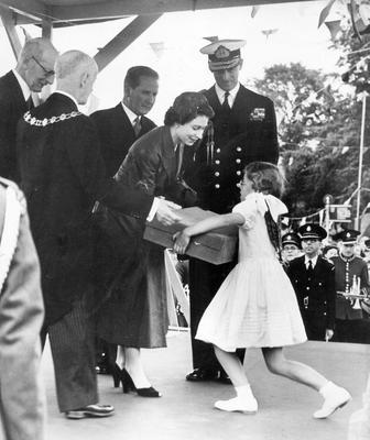 The Queen, Elizabeth 11. 1953. Coronation Year visit.When the Queen and the Duke visited Ballymena it was a very big moment for this little girl, nine-year-old Eileen Roberta Sinpson, the daughter of the then Town Clerk, Mr John Simpson.  3/7/1953