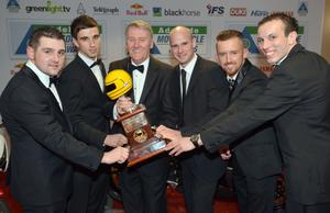 Sam Geddis of Adelaide Insurance with Michael Dunlop, Graeme Irwin,  Ryan Farquhar, Jack Kennedy and Keith Farmer, the nominees for the Enkalon Irish Motorcyclist of the Year title at the Adelaide Motorcycle Awards in Belfast