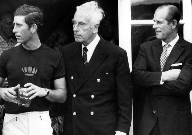 1977 at a polo match at Windsor; Prince Charles, and Lord Mountbatten with Prince Philip