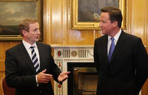 Irish Taoiseach  Enda Kenny pictured with Britain's Prime Minister David Cameron at Government buildings where the two held talks prior to attending the state dinner in honour of Queen Elizabeth II