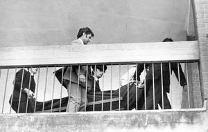 John and Thomas McErlane. Shot dead by gunmen in a flat in Mount Vernon Green, Belfast.  Police carry out one of the brothers bodies from the flat.  23/5/1975