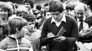 Seve Ballesteros signs autographs during a game in Northern Ireland
