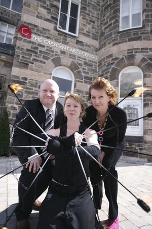 Crescent Arts Centre: Pictured at the opening are Keith Acheson, Centre manager; Arts Council Chief Executive, Roisin McDonough and Katey Dixon of FirePoise