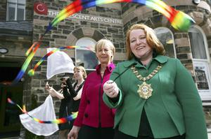 After an 18 month renovation, the Crescent Arts centre has unveiled the  dramatic results of its £7.2 million restoration and refurbishment. The Pictured at the opening are Belfast's Lord Mayor, Cllr Naomi Long; Arts Council Chairman, Rosemary Kelly and  performers Clare Palmer and  Katey Dixon of FirePoise