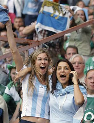 Argentina's supporters react after Argentina defeated Ireland 30-15 in their Rugby World Cup Group D match at the Parc des Princes stadium in Paris, Sunday, Sept. 30, 2007.