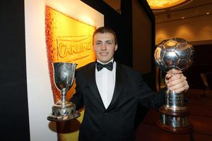 Carling Northern Ireland Football Writers Awards at the Europa Hotel in Belfast. Crusaders' Stuart Dallas was awarded the Carling Player of the Year at the Carling Northern Ireland Football Writers Annual Banquet last night at the Europa Hotel, Belfast