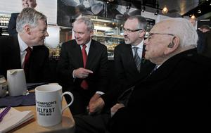 (left to right) First Minister Peter Robinson with Deputy First Minister Martin McGuinness, Belfast Titanic CEO Tim Husband and  105yr old Cyril Quigley, who watched the Titanic being launched as a young child in 1911, in the Titanic Belfast, the world's largest Titanic-themed attraction that was officially opened today in the old shipyard at Harland and Wolff, where the doomed liner was built