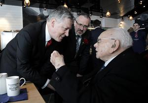 First Minister Peter Robinson with Belfast Titanic CEO Tim Husband meets 105 year old Cyril Quigley who watched the Titanic being launched as a young child in 1911 in the  Titanic Belfast, the world's largest Titanic-themed attraction that was officially opened today in the old shipyard at Harland and Wolff, where the doomed liner was built