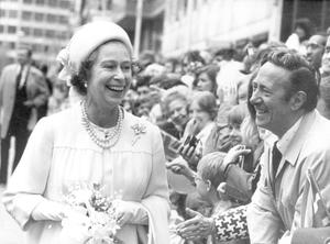 Queen Elizabeth II:The Queen and Duke of Edinburgh attended a service to mark her Silver Jubilee, at St Paul's Cathedral. Face to face with smiles.. the Queen meets on of her subjects. 7/7/1977