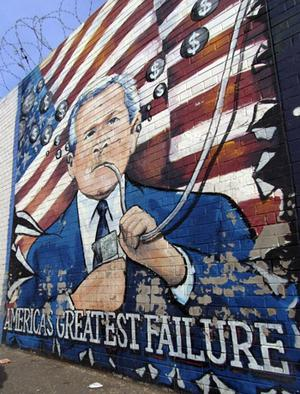 A mural on the Falls Road in west Belfast ahead of the visit of US President George Bush to the Stormont Castle in Belfast