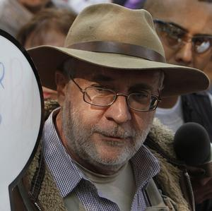 Mexican poet turned activist Javier Sicilia at the start of his peace caravan in Mexico City (AP)