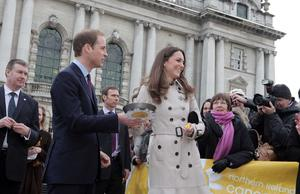 ©Jonathan Porter/Presseye.com - Press Eye Ltd -Northern Ireland -  8th March 2011.  Prince William  and his future wife Kate Middleton make their first official visit to Northern Ireland.  The Royal couple pictured starting their visit at Belfast's City Hall and toss some pancakes for the Northern Ireland Cancer Fund for Children.  The Prince is set to marry Miss Middleton in April.