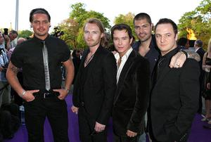8/5/2008 of Boyzone (left to right) Keith Duffy, Ronan Keating, Stephen Gately, Shane Lynchy and Mikey Graham arrive at The Cauldwell Ball at the Battersea Evolution in Battersea Park, London.
