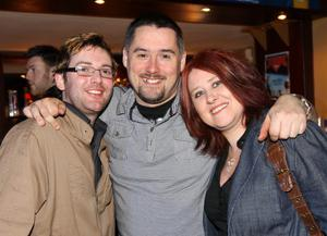 Pictured enjoying the Harp Ice Cold Big Gig on 23rd April are Adam Sloan, Gary McCann and Tracey Auld