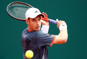 MONTE-CARLO, MONACO - APRIL 17:  Andy Murray of Great Britain plays a backhand in his match against Viktor Troicki of Serbia during day three of the ATP Monte Carlo Masters on April 17, 2012 in Monte-Carlo, Monaco.  (Photo by Julian Finney/Getty Images)