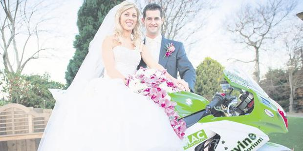 """Lynsey McClune and Denver Robb on their wedding day at Dundrum Castle <p><b>To send us your Wedding Pics <a  href=""""http://www.belfasttelegraph.co.uk/usersubmission/the-belfast-telegraph-wants-to-hear-from-you-13927437.html"""" title=""""Click here to send your pics to Belfast Telegraph"""">Click here</a> </a></p></b>"""
