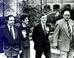 IAN PAISLEY:DEMOCRAIIC UNIONIST PARTY (DUP) LEADER, WITH PARTY SENIORS, NIGEL DODDS, IRIS AND PETER ROBINSON.