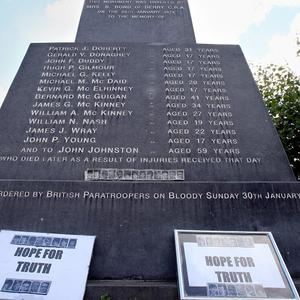 A memorial to those killed on Bloody Sunday in the Bogside area of Derry