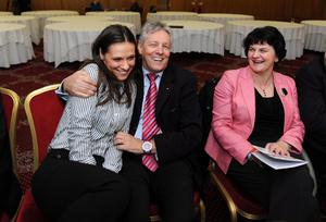 First Minister and DUP leader, Peter Robinson, with his daughter, Rebekah Robinson, alongside Arlene Foster at the annual DUP party conference at La Mon House