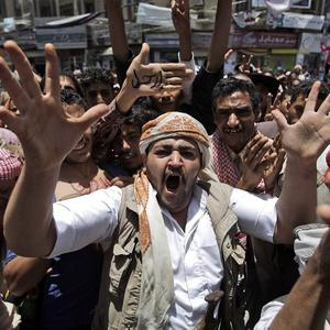 Police reportedly clashed with protesters during a rally calling for the removal of president Ali Abdullah Saleh in Taiz (AP)
