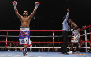 David Haye (left) celebrates victory over Audley Harrison during the WBA World Heavyweight Championship Title fight at the MEN Arena, Manchester. PRESS ASSOCIATION Photo. Picture date: Saturday November 13, 2010. David Haye has beaten Audley Harrison by third-round stoppage to retain his WBA heavyweight title in Manchester. See PA Story BOXING Manchester. Photo credit should read: Dave Thompson/PA Wire.
