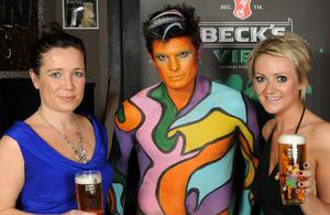 Sarah Owens, Beck's Vier Model Lee Rush and Niki MacCorquodale, Brand Manager for Beck's Vier pictured at the launch of Beck's Vier Music Inspires Art.