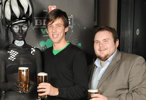Beck's Vier Model Zara Shaw, David Smith and Stephen Hardy pictured at the launch of Beck's Vier Music Inspires Art.