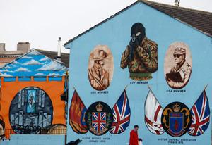 A protestant loyalist mural in the Shankhill area of Belfast on March 14, 2009.