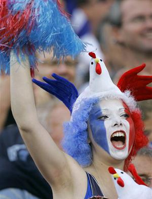 A French rugby team supporter reacts before the Rugby World Cup Group D match between France and Georgia in Marseille, France, Sunday Sept. 30, 2007.