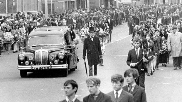 THE IRA FUNERAL ON THE FALLS ROAD OF ROSE CURRY, KILLED  IN A PREMATURE BOMB EXPLOSION AT  MERRION STREET, LOWER FALLS BELFAST