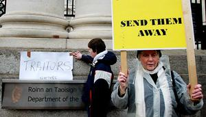 Protesters outside Government Buildings in Dublin