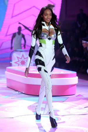 NEW YORK, NY - NOVEMBER 07:  Model Jourdan Dunn walks the runway during the 2012 Victoria's Secret Fashion Show at the Lexington Avenue Armory on November 7, 2012 in New York City.  (Photo by Jamie McCarthy/Getty Images)