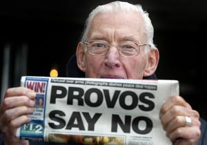 Ian Paisley after meeting with the General John De Chastelain in 2004