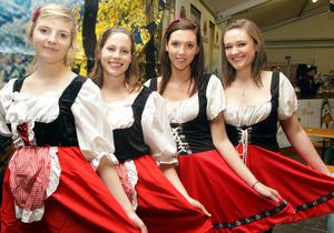 Aoife MacSherry, Holly Seymour, Laura McDonald and Maeve Browne at Oktoberfest in Custom House Square