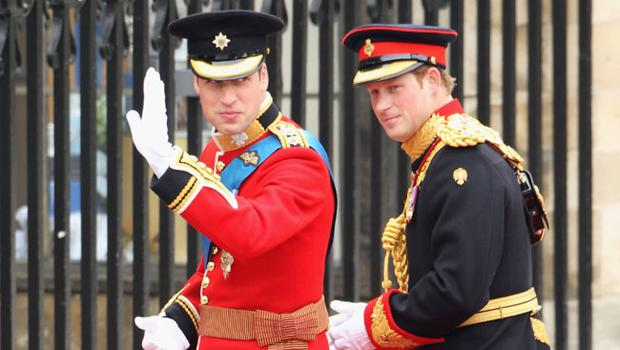 LONDON, ENGLAND - APRIL 29:  Prince William (L) waves to the crowd as he arrives with Prince Harry for the Royal Wedding of Prince William to Catherine Middleton at Westminster Abbey on April 29, 2011 in London, England. The marriage of the second in line to the British throne is to be led by the Archbishop of Canterbury and will be attended by 1900 guests, including foreign Royal family members and heads of state. Thousands of well-wishers from around the world have also flocked to London to witness the spectacle and pageantry of the Royal Wedding.  (Photo by Dan Kitwood/Getty Images)